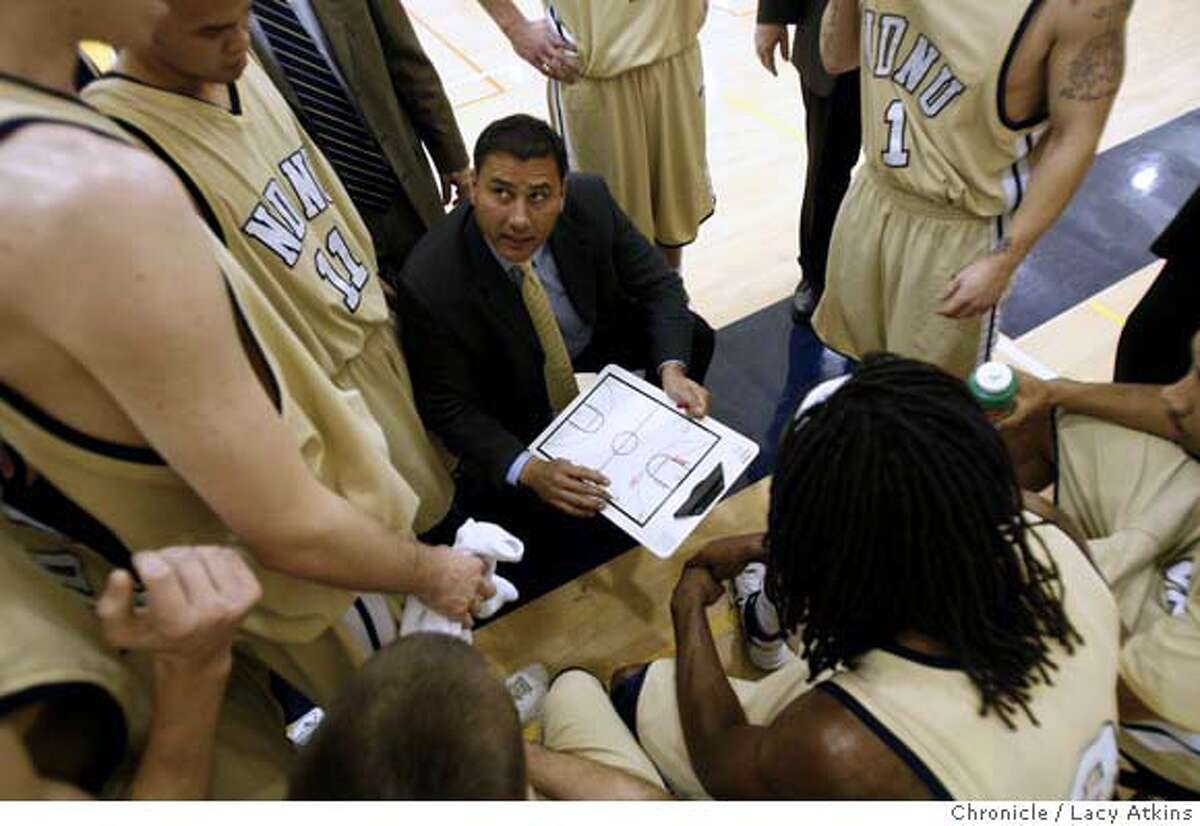 Notre Dame coach George Puou talks with team during a timeout against BYU Hawaii, January 2, 2008, in Belmont, Ca. (Lacy Atkins San Francisco Chronicle) MANDATORY CREDIT FOR PHOTOG AND SAN FRANCISCO CHRONICLE/NO SALES-MAGS OUT