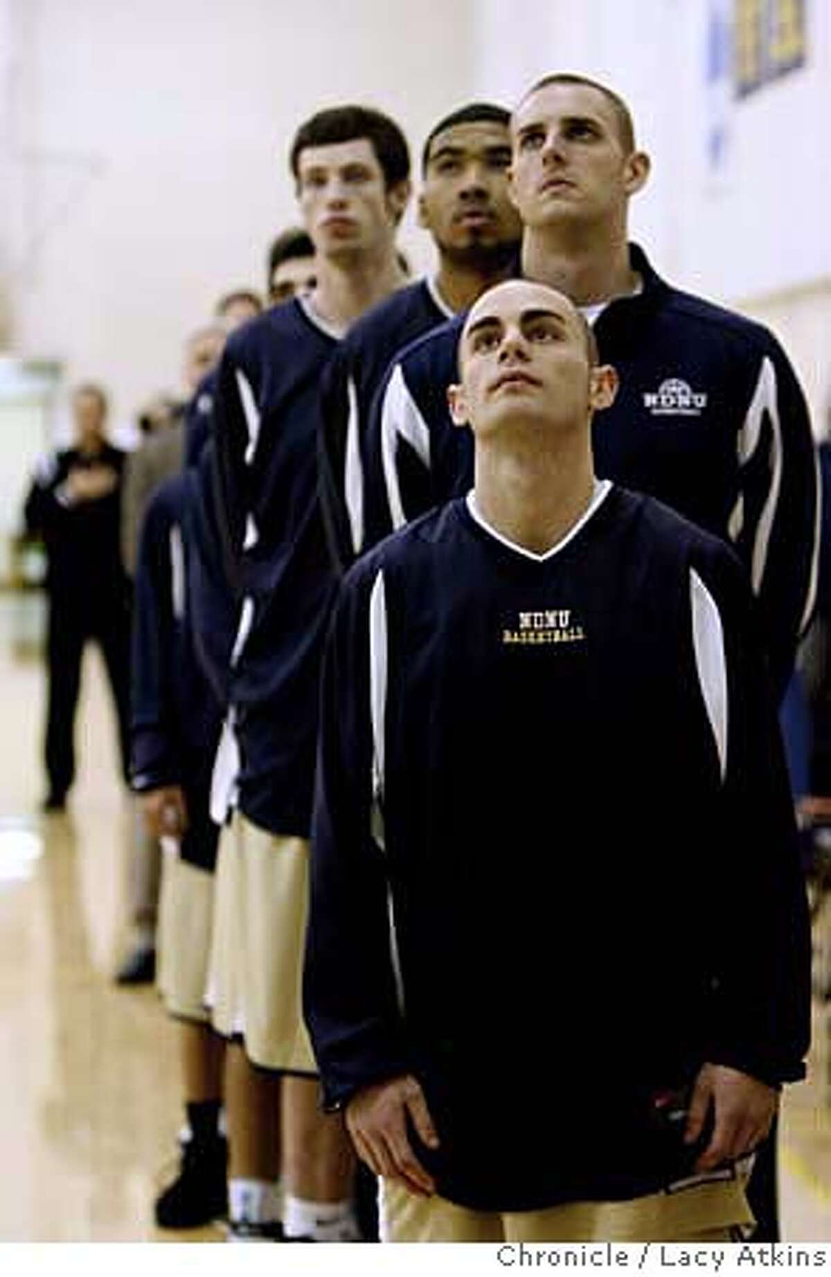 Ryan Copper a senior at Notre Dame stands with the team at the start of the game against BYU-Hawaii Wednesday night January 2, 2008, in Belmont,Ca. (Lacy Atkins San Francisco Chronicle) MANDATORY CREDIT FOR PHOTOG AND SAN FRANCISCO CHRONICLE/NO SALES-MAGS OUT