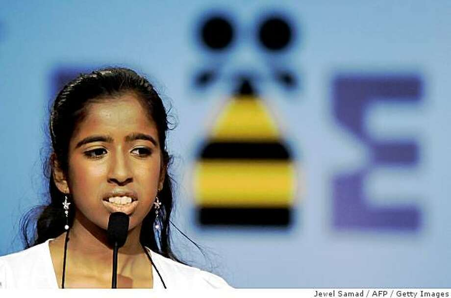 Speller Ramya Auroprem from San Jose, California, reacts after being out during the final of the 2009 Scripps National Spelling Bee competition in Washington, DC, on May 28, 2009.  In the 82nd year of the event, America?s largest and longest-running educational promotion, 11 spellers out of 293 are competing in the final to become the best speller of the year. Photo: Jewel Samad, AFP / Getty Images