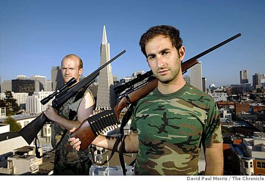 Nick Chaset (L) and Nick Zigelbaum founders of the Bull MOsse Hunting Society, a new urban hunting club and meat sharing co-op based in the Western Edition pose for a photograph in North Beach on May 26, 2009 in San Francisco, Calif.  (Photo by David  Paul Morris/The Chronicle) Photo: David Paul Morris, The Chronicle