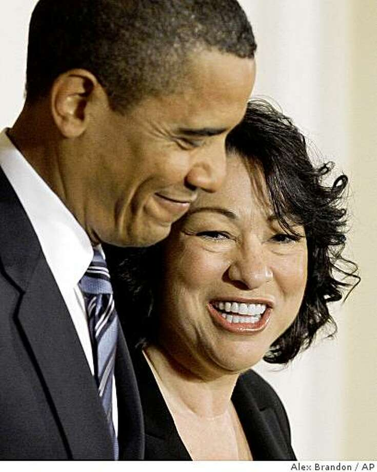 President Barack Obama announces federal appeals court judge Sonia Sotomayor, right, as his nominee for the Supreme Court, Tuesday May 26, 2009, in the East Room of the White House in Washington. (AP Photo/Alex Brandon) Photo: Alex Brandon, AP