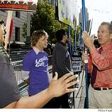 "(Left to right) Sandra Barrera and Glendon Hyde argue with anti-same-sex marriage supporter Don Grundmann outside the California Supreme Court on Tuesday morning. ""Upholding Prop. 8 will be a fantastic victory,"" said Grundmann."