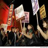 Gay rights supporters fill Castro St. between 18th and Market and dance to music in San Francisco, Calif. on Tuesday May 26, 2009 after the California Supreme Court ruled this morning to uphold Proposition 8.