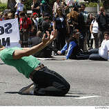 Protestor on Van Ness at Grove avenues in the civic center in San Francisco, Calif., on Monday, May 26, 2009.