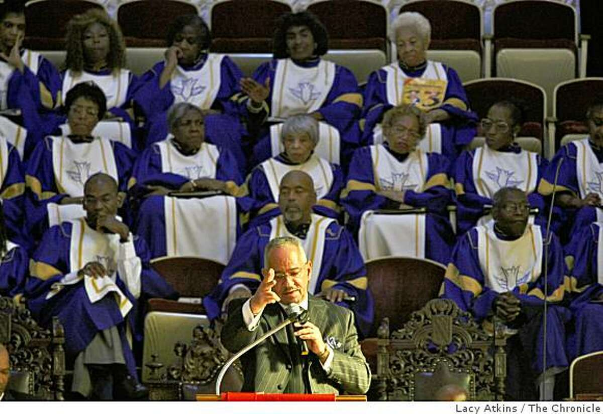 Rev. Jeremiah Wright delivers the sermon to celebrate Amos Brown's 33 year of preaching at the Third Baptist Church, Sunday June 7, 2009, in San Francisco, Calif.
