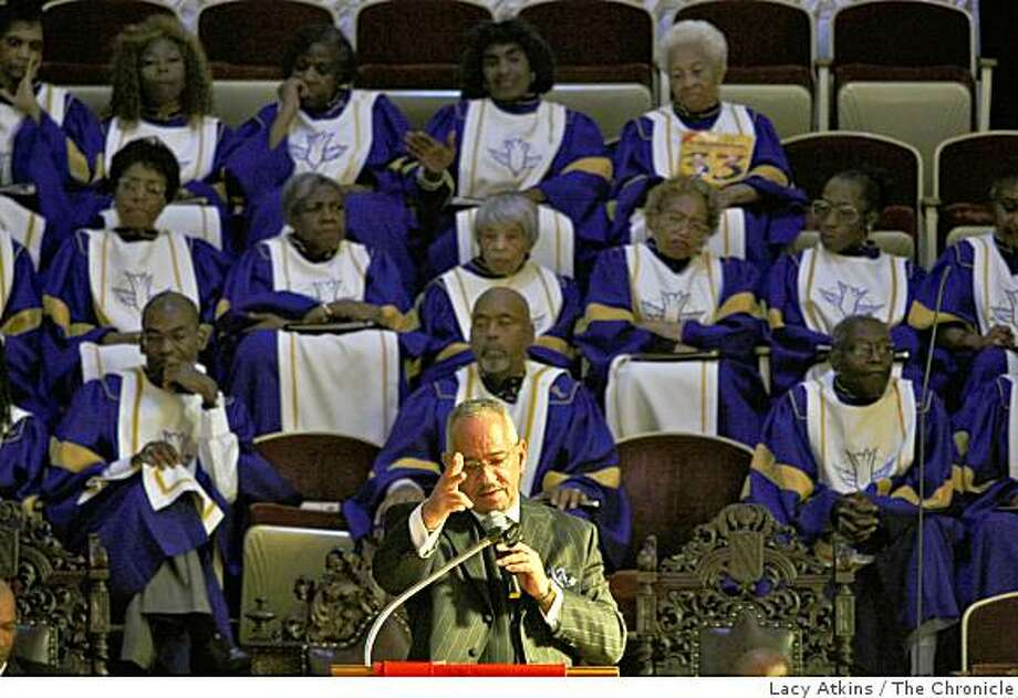 Rev. Jeremiah Wright delivers the sermon to celebrate Amos Brown's 33 year of preaching at the Third Baptist Church, Sunday June 7, 2009, in San Francisco, Calif. Photo: Lacy Atkins, The Chronicle
