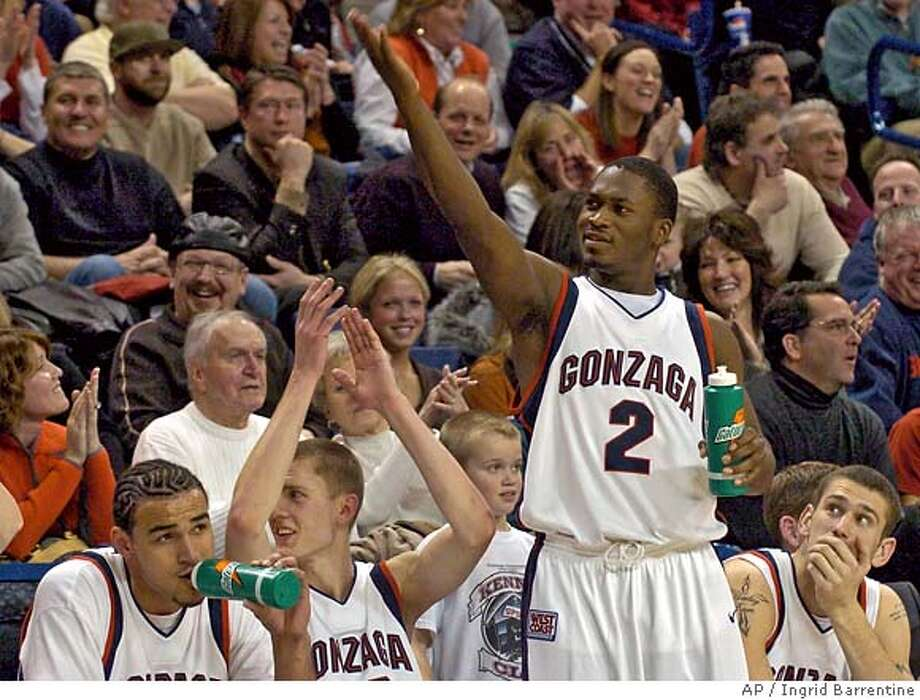 Gonzaga starter Jeremy Pargo, 2, energizes the crowd in the second half of a basketball game against Portland, Monday, Jan. 28, 2008, at McCarthey Athletic Center in Spokane, Wash. Gonzaga won by a final score of 79-41. (AP Photo/Ingrid Barrentine) EFE OUT Photo: Ingrid Barrentine