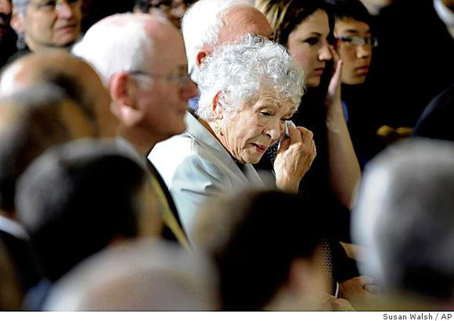 Celina Sotomayor, mother of Supreme Court nominee Sonia Sotomayor, wipes her eye during the announcement, Tuesday, May 26, 2009, in the East Room of the White House in Washington.  (AP Photo/Susan Walsh) Photo: Susan Walsh, AP