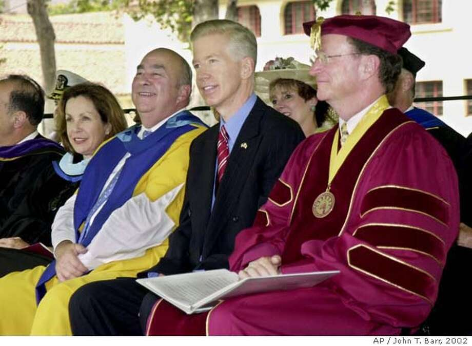 Sharing a light moment during opening ceremonies for the new California State University-Channel Islands campus are, from left, CSU board of trustees chair Deborah Farar, CSU Chancellor Charles B. Reed, California Gov. Gray Davis, and CSUCI President Richard Rush Friday, Aug. 16, 2002. The school will be the first public, four-year university in Ventura County and the only public university to open nationwide in 2002. CSUCI will open its doors to its first students on Aug. 26. (AP Photo/John T. Barr, HO)  Ran on: 03-22-2007  Charles Reed  ALSO Ran on: 09-20-2007  CSU Chancellor Charles Reed will receive a $44,500 annual raise.  Ran on: 09-20-2007 Photo: JOHN T. BARR