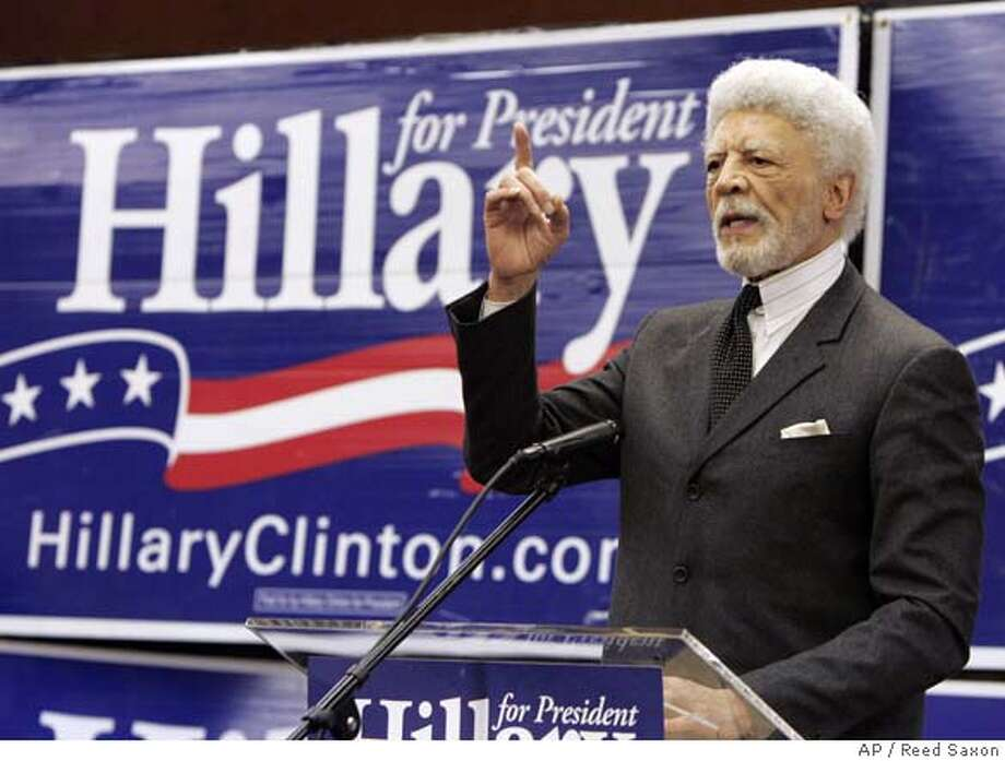 Mayor Ron Dellums of Oakland, Calif., joins other California mayors speaking to promote Democratic presidential hopeful Hillary Rodham Clinton's economic stimulus package as a measure to improve the lives of working families at Clinton's East Los Angeles campaign office Wednesday, Jan. 30, 2008. (AP Photo/Reed Saxon) Photo: Reed Saxon