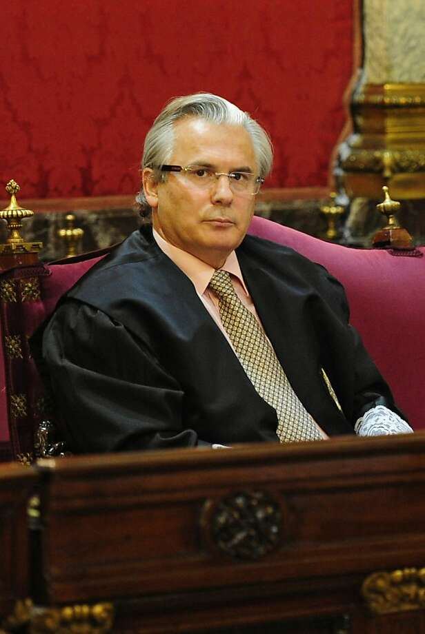 This file picture dated January 17, 2012 shows Spanish judge Baltasar Garzon attending the first day of his trial on charges for abuse of power over alleged illegal wiretapping at Spain's Supreme court in Madrid. Spain's high court convicted top judge Baltasar Garzon on February 9, 2012 in an illegal wiretapping case and suspended him from the law for 11 years, in one of two cases in which he has stood trial this year. Photo: Javier Soriano, AFP/Getty Images