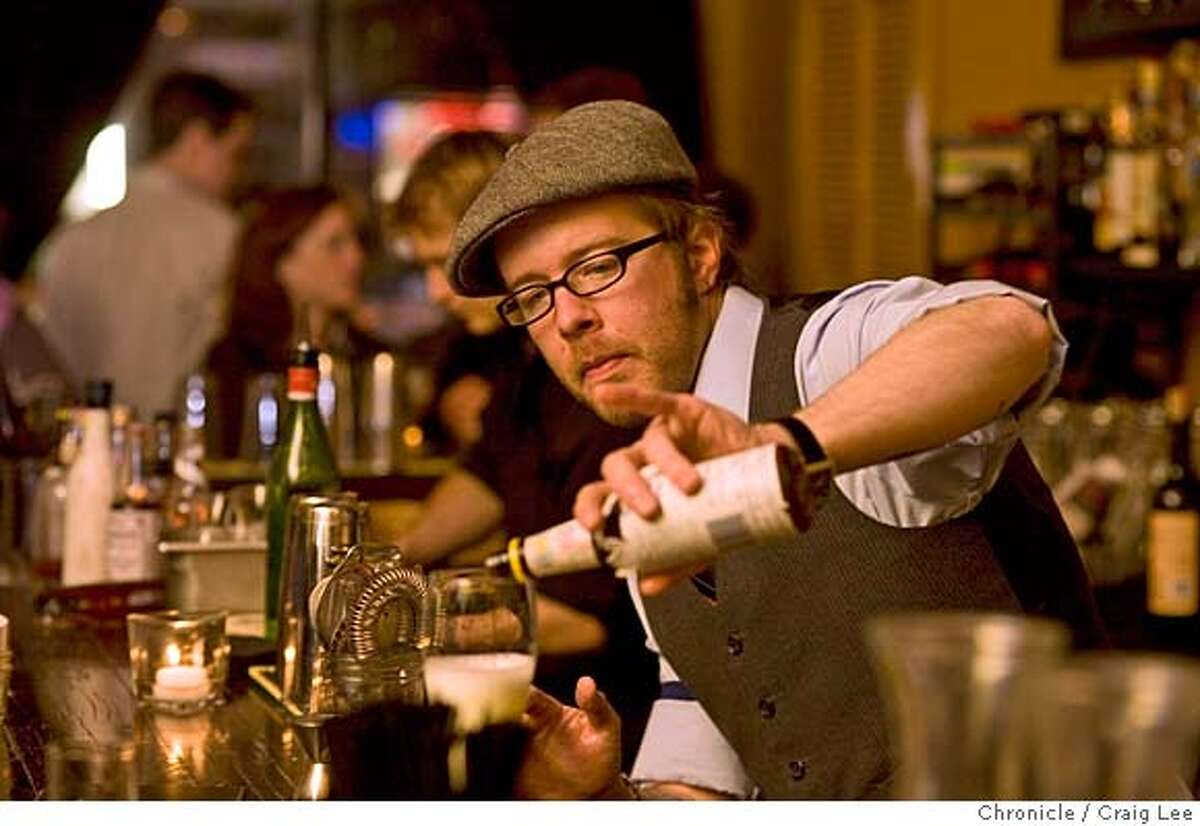 Daniel Hyatt, bartender at Alembic, 1725 Haight Street. Photo of Daniel Hyatt behind the bar mixing up a drink called Pisco Sour. photo by Craig Lee / The Chronicle MANDATORY CREDIT FOR PHOTOG AND SF CHRONICLE/NO SALES-MAGS OUT