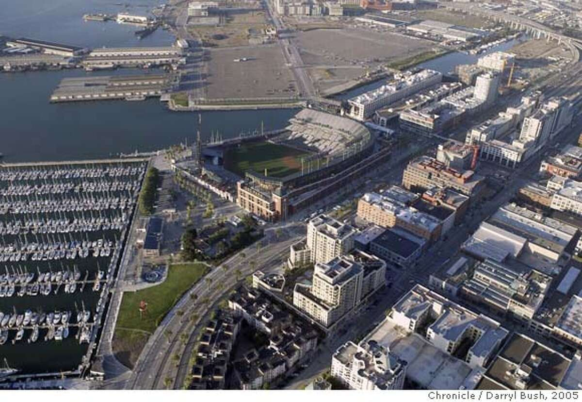 aerial_004_db.jpg Aerial view of SBC Park and surrounding area. Giants home (formerly known as Pac Bell) Event on 6/15/05 in San Francisco. Darryl Bush / The Chronicle MANDATORY CREDIT FOR PHOTOG AND SF CHRONICLE/NO SALES-MAGS OUT