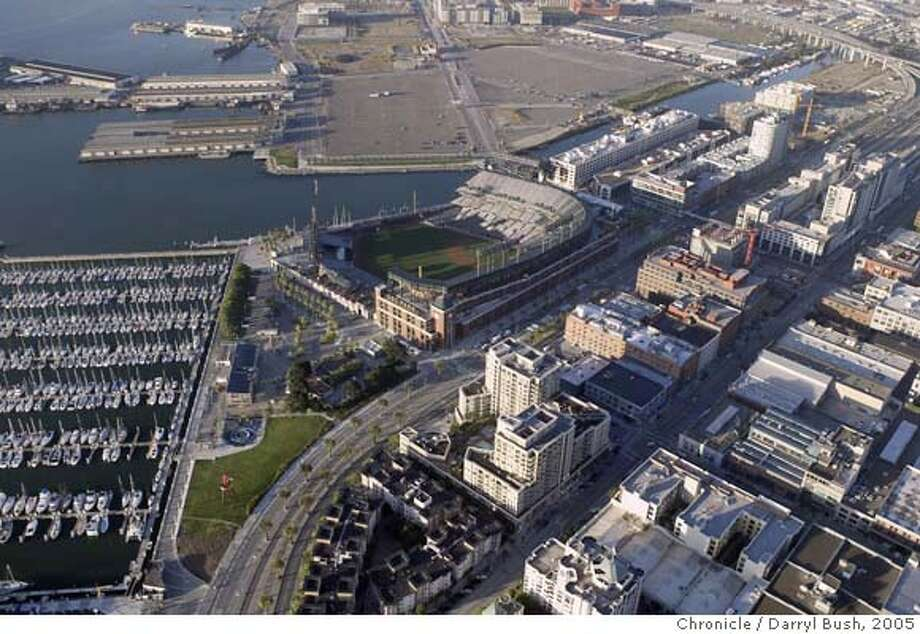 aerial_004_db.jpg  Aerial view of SBC Park and surrounding area. Giants home (formerly known as Pac Bell)  Event on 6/15/05 in San Francisco.  Darryl Bush / The Chronicle MANDATORY CREDIT FOR PHOTOG AND SF CHRONICLE/NO SALES-MAGS OUT Photo: Darryl Bush