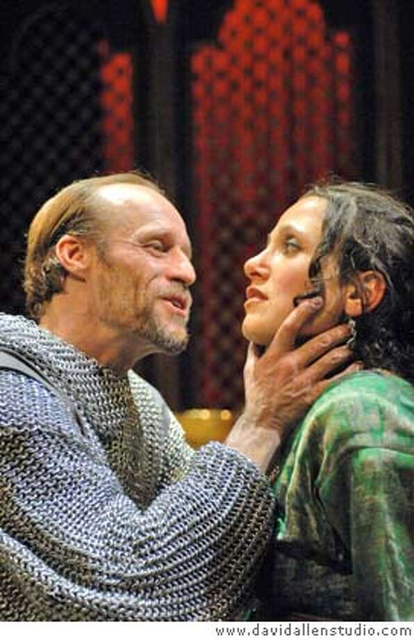 Nora el Samahy and Rod Gnapp as Sultan Saladin�s sister Alia and her captor French knight Reginald in the world premiere production of Betty Shamieh�s TERRITORIES, directed by Jessica Heidt. Photo by www.davidallenstudio.com. Photo: Www.davidallenstudio.com