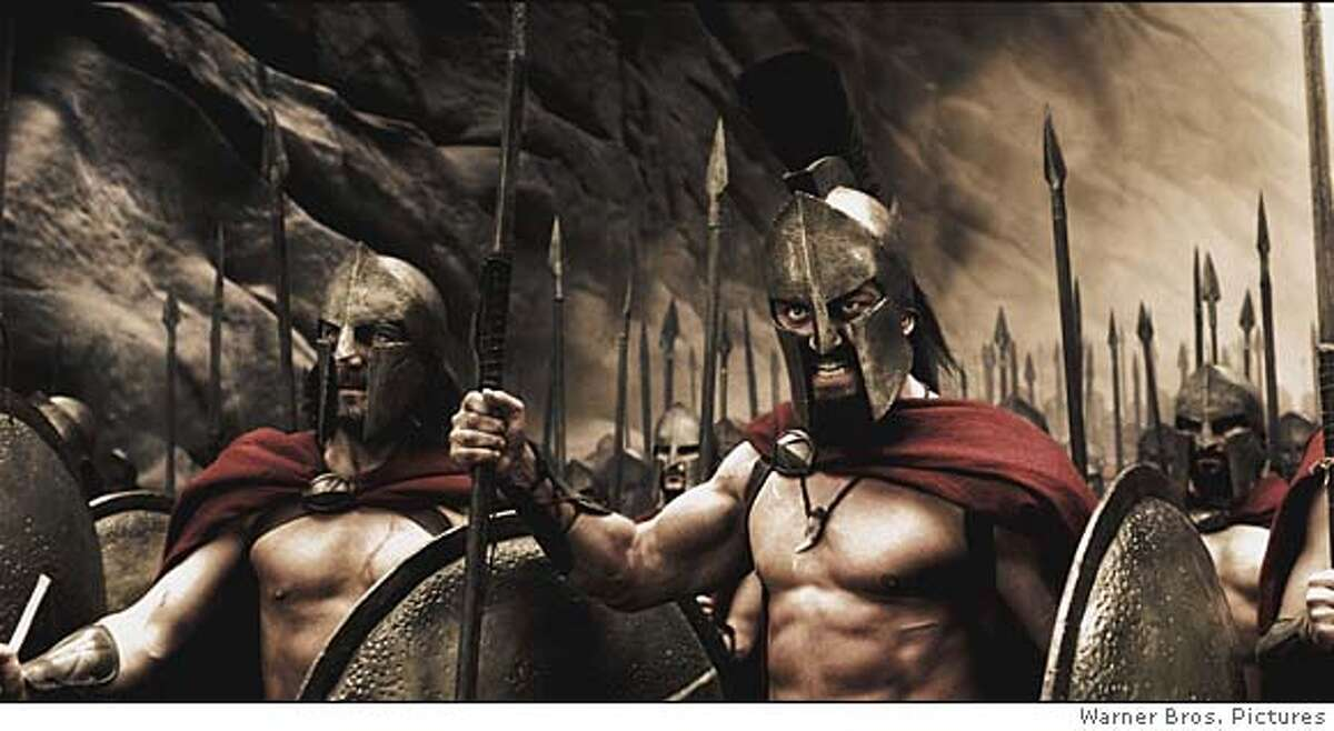 In this photo provided by Warner Bros. Pictures, Captain (Vincent Regan), Leonidas (Gerard Butler) and the Spartans stand ready to halt the advance of the Persian army in the action drama 300.