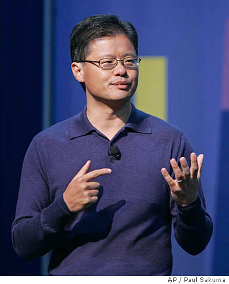 **FILE** Yahoo CEO Jerry Yang gives a keynote address at the Consumer Electronics Show (CES) in Las Vegas, Monday, Jan. 7, 2008. Yahoo is expected to release quarterly earnings Tuesday, Jan. 29, 2008. (AP Photo/Paul Sakuma, file) Photo: Paul Sakuma