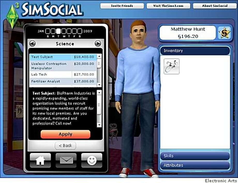 A screenshot from a Facebook mini game Electronic Arts put out to promote the Sims 3 retail game. Video game publishers like EA see social networks as an avenue to broaden their audience. Photo: Electronic Arts