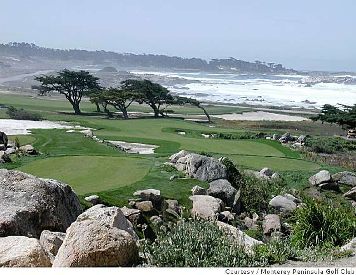 Looking down to the 11th-hole fairway from the hole's championship tee at the Monterey Peninsula Golf Club's Shore Course. Circa 2009.