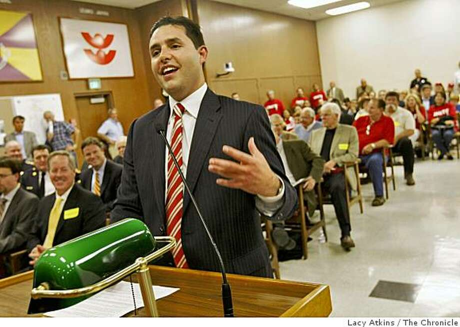 Jed York, manager of the San Francisco 49ers speaks to the city council about the chance of moving the team to Santa Clara,  at the city council meeting, Tuesday June 2, 2009, in Santa Clara, Calif. Photo: Lacy Atkins, The Chronicle