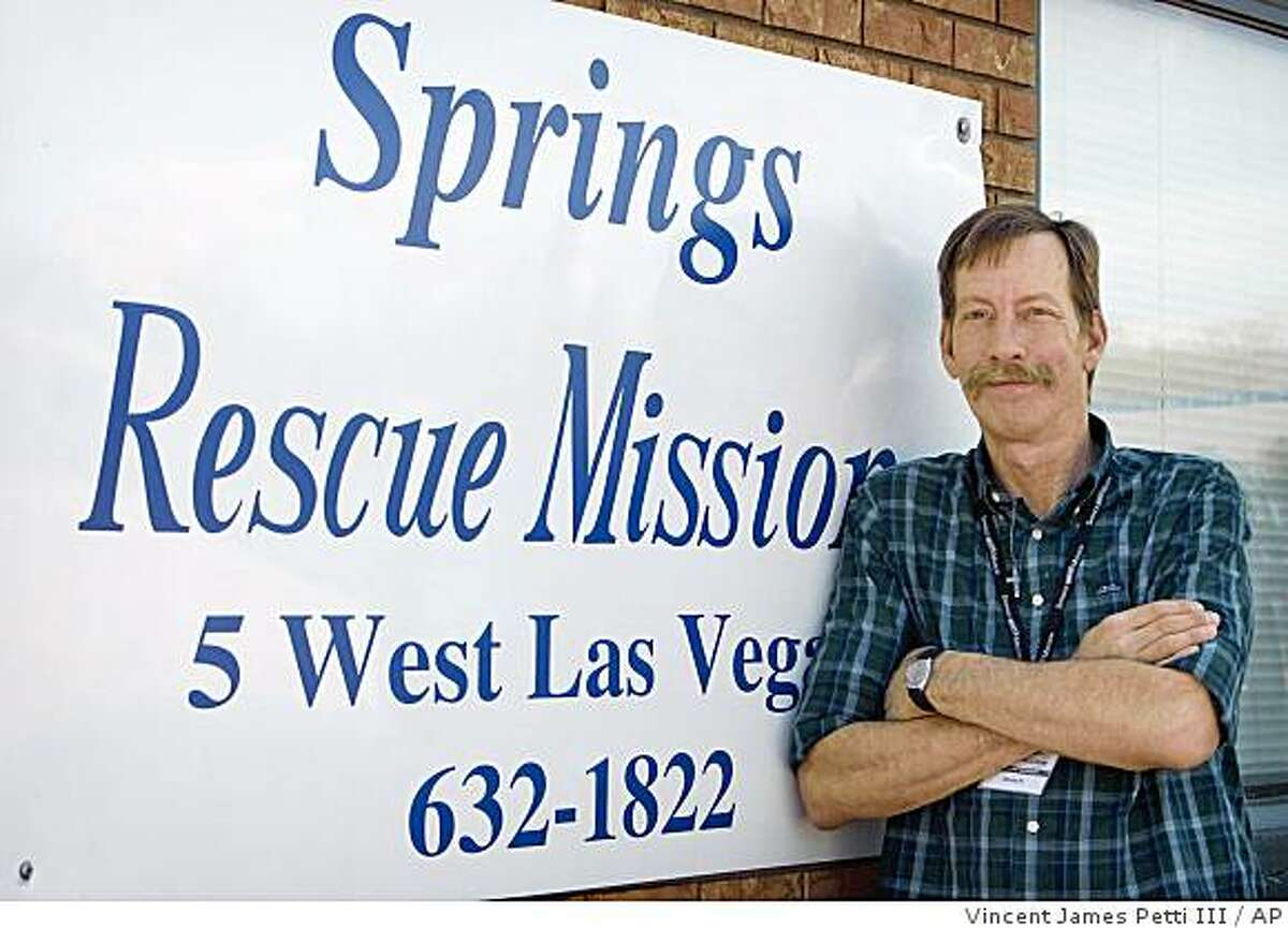 This picture taken May 18, 2009, provided by Vincent James Petti III, shows David Hart posing outside the Springs Rescue Mission, a charity whose programs include substance-abuse counseling for drug-addicted homeless men. Hart, 49, said he had been abusing drugs since he was 14, but hopes treatment he started in January at the rescue mission will help him break the addiction. (AP Photo/Courtesy Vincent James Petti III)