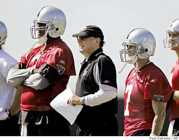 Oakland Raiders quarterback JaMarcus Russell (2), quarterbacks coach Paul Hackett, center, and quarterback Jeff Garcia (7) look on during practice at Raiders headquarters in Alameda, Calif., Wednesday, May 20, 2009. Photo: Paul Sakuma, AP