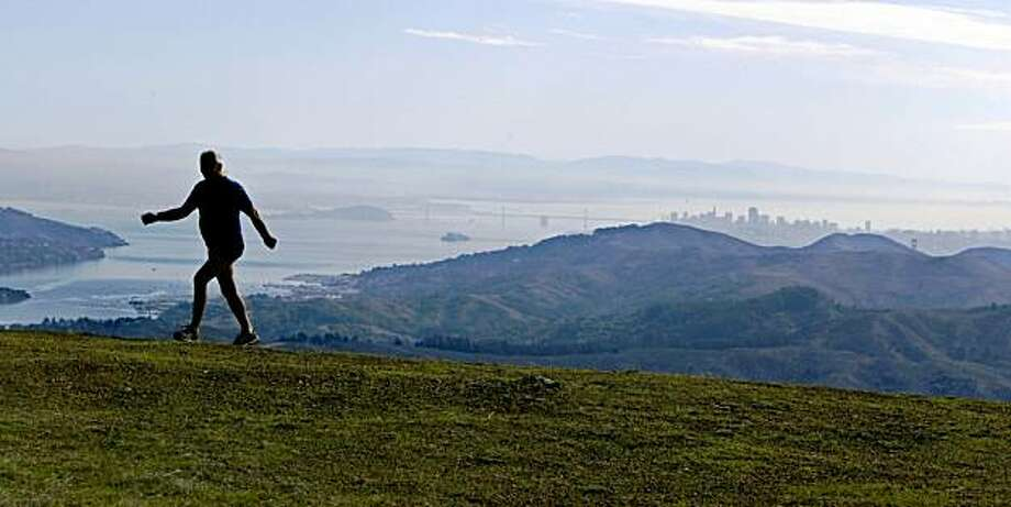 Walking Don Moseman.On top of Mt Tam overlooking San francisco. Photo: Kurt Rogers, The Chronicle