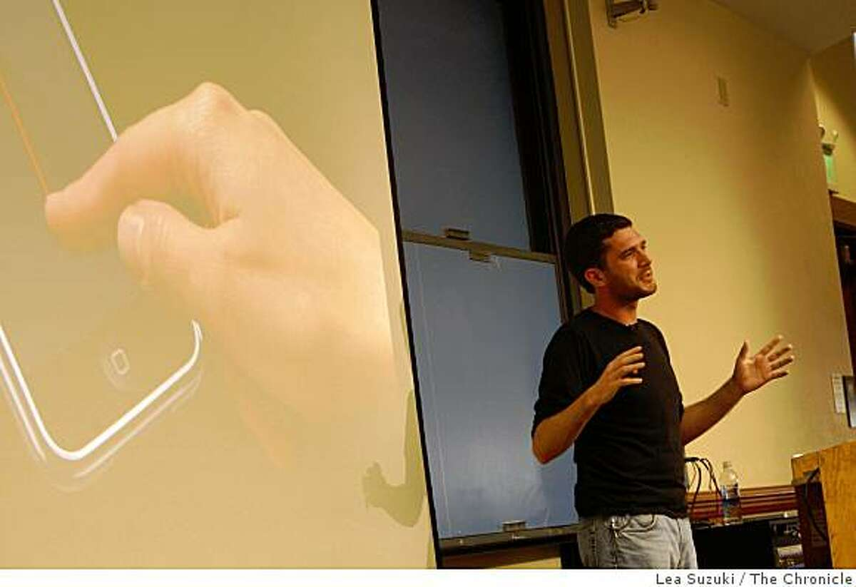 Apple engineer Josh Shaffer guest lectures during the iPhone applications programming class at Stanford, Calif. on Monday May 18, 2009.