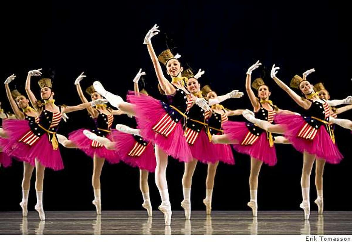 San Francisco Ballet School students in Balanchine's Stars And Stripes.