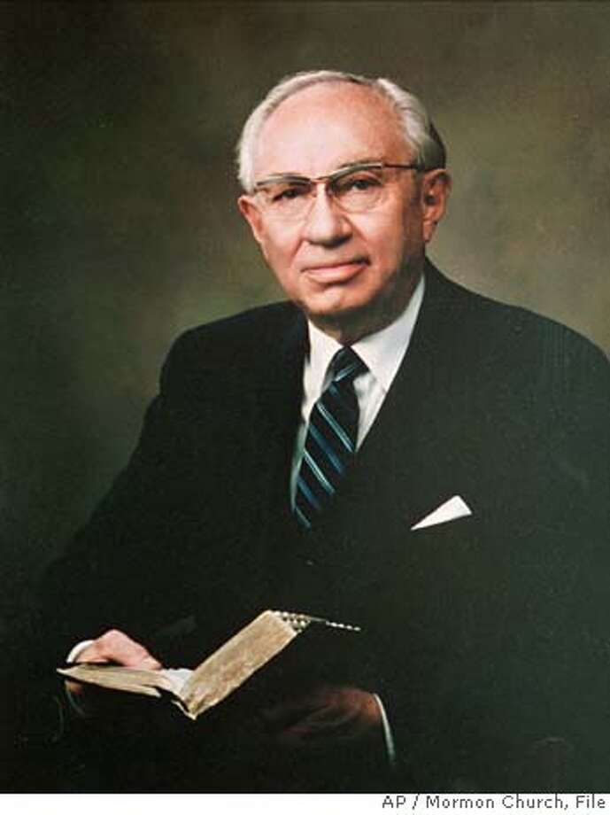 FILE--Gordon B. Hinckley, 84, a lifelong Mormon Church bureaucrat, counselor and administrator, was ordained Sunday March 8, 1995 as the faith's 15th president. If the church heirarchy follows its long tradition, Hinckley will succeed Howard W. Hunter, the second-oldest man ever to become president of the Mormon Church, who died Friday March 3,1995, nine months after taking office. (AP Photo/Mormon Church) CAT Photo: Mormon Church