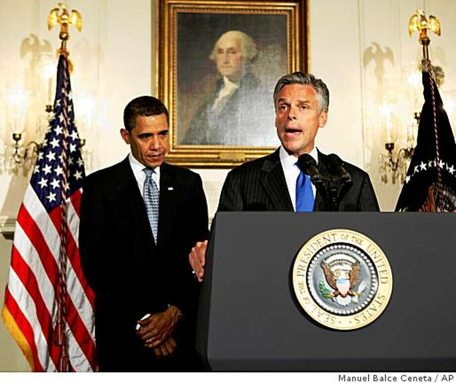 ** CORRECTS SPELLING OF AMBASSADOR'S FIRST NAME ** Utah Governor Jon Huntsman, right, gives his remarks accepting the nomination by President Barack Obama as the U.S. ambassador to China in the Diplomatic Room at the White House, Saturday, May 16, 2009, in Washington.   (AP Photo/Manuel Balce Ceneta) Photo: Manuel Balce Ceneta, AP