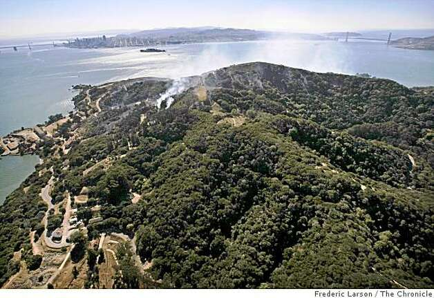 The southern half of Angel Island received the most of the fire damage Sunday where ground crews and water-dropping helicopters ward the flames away from more than a dozen historic buildings on the northern side of the island on October 13, 2008. Photo: Frederic Larson, The Chronicle
