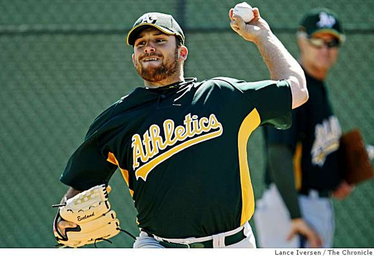 Oakland Athletics pitcher Dana Eveland works in the bullpen during Spring Training at Papago Baseball Complex Thursday February 19, 2009 in Phoenix Arizona