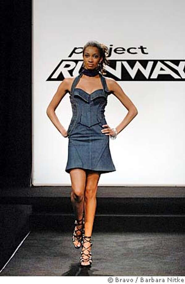 "PROJECT RUNWAY -- ""Even Designers Get the Blues"" Episode 409 -- Pictured: Marcia wearing demin halter dress made out of Levi's 501 jeans, by Chris March. -- Bravo Photo: Barbara Nitke Photo: Barbara Nitke"