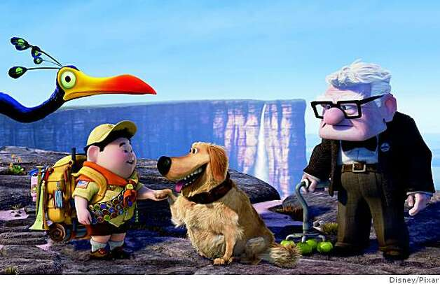 "(L- R) Kevin, Russell, Dug, Carl Fredricksen in ""Up"" Photo: Disney/Pixar"