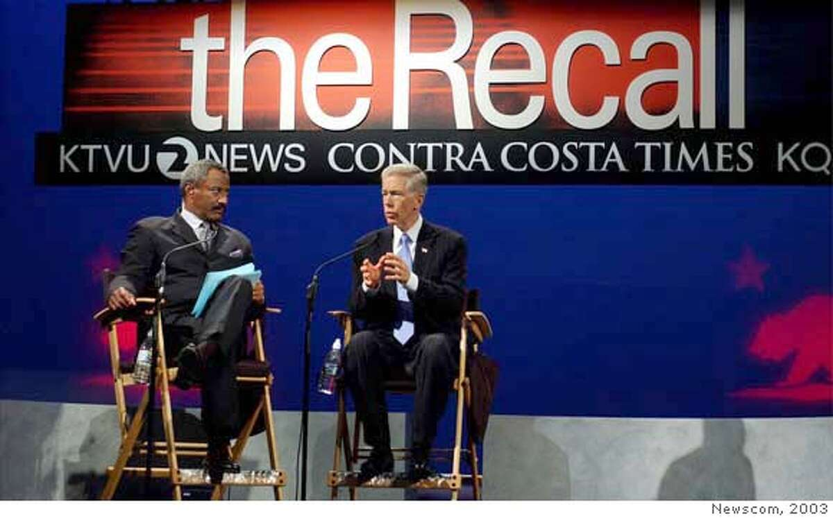 KTVU anchor DENNIS RICHMOND (L) interviews California Governor GRAY DAVIS answers questions from journalists during to the California Gubernatorial forum during to the California Gubernatorial forum at the Dean Lesher Regional Center for the Arts on September 3, 2003 in Walnut Creek, California. (Newscom TagID: zumaphotos482262) [Photo via Newscom]