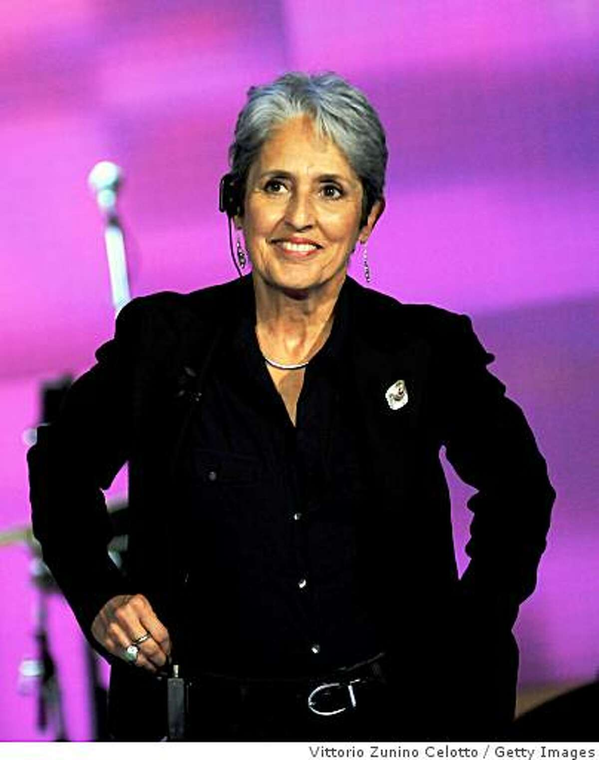 MILAN, ITALY - OCTOBER 11: Singer Joan Baez attends Che Tempo Che Fa Television Show held at RAI Studios on October 11, 2008 in Milan, Italy.