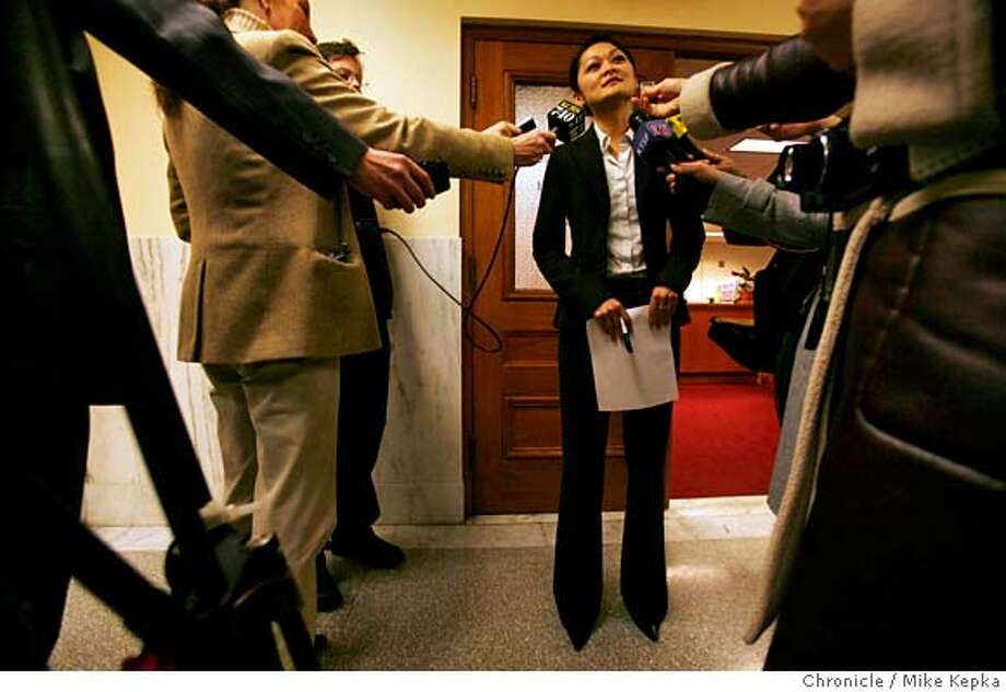 Before taking out nomination papers to become a candidate, appointed San Francisco District Four supervisor, Carmen Chu met with the press outside the city Department of Elections at City Hall. Mike Kepka/The Chronicle MANDATORY CREDIT FOR PHOTOG AND SAN FRANCISCO CHRONICLE/NO SALES-MAGS OUT Photo: Mike Kepka