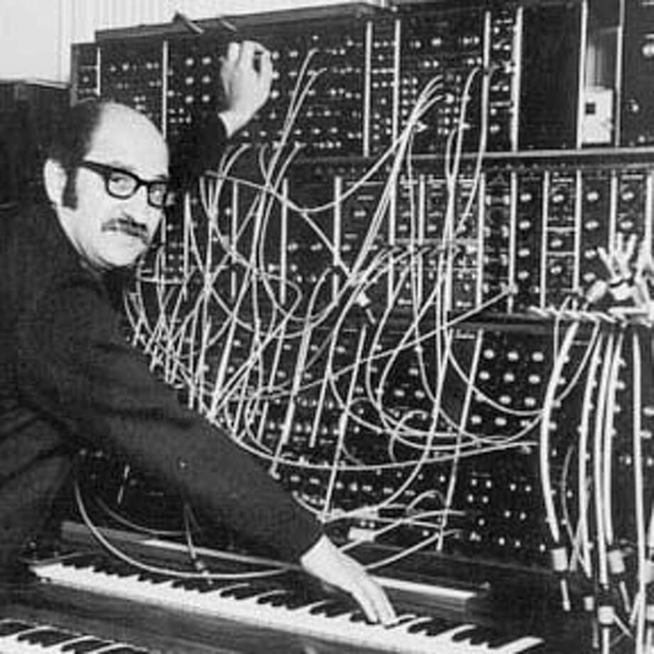 obit photo of taken in the late 1960s showing him with his Moog synthesizer Photo: Family