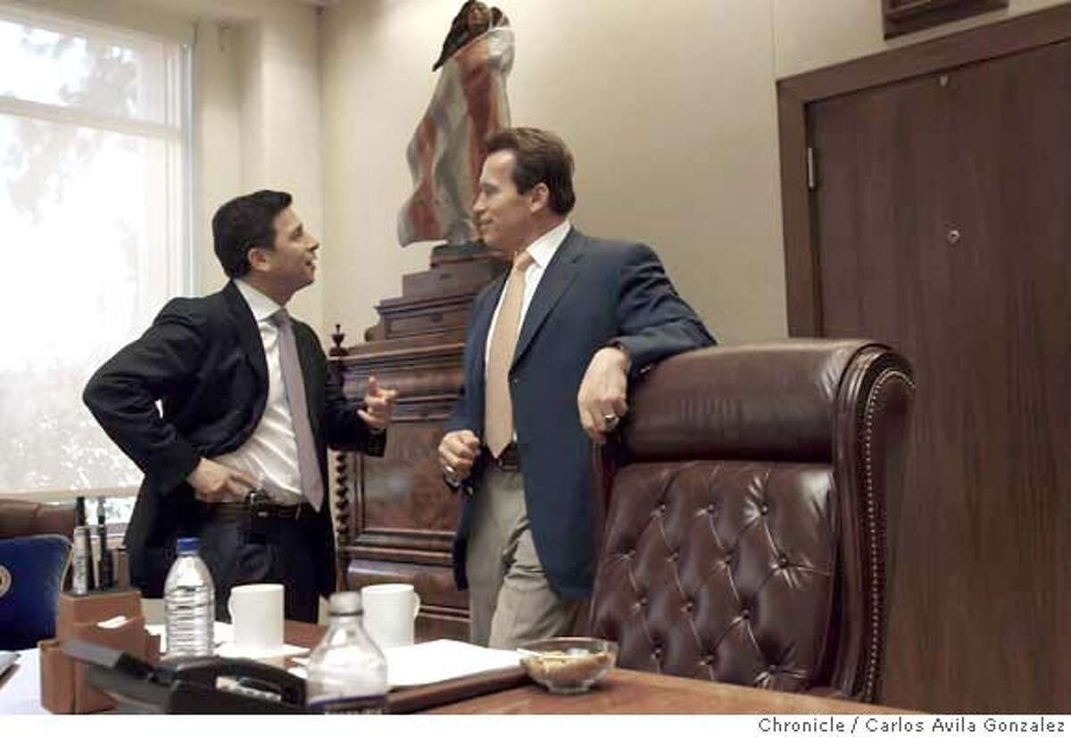 NUNEZ_001_CAG.JPG Assembly Speaker, Fabian Nu�ez speaks with Governor Arnold Schwarzenegger over health care matters related to the proposed state budget on January 16, 2008.This is a profile on Assembly Speaker Fabian Nunez, who in the past half dozen years have gone from a nobody to one of the most powerful politicians in California. His personal story is one of rags to riches: his roots lie near the US-Mexican border in San Diego where he grew up as one of a dozen children born to a gardener and a maid. But his rapid rise to political stardom is unprecedented, becoming the most powerful speaker of the Assembly in the term limits era and mentioned as one of the most powerful ever in the likes such as Willie Brown. We get to spend a day with Nunez conducts business at the State Capitol in Sacramento, Ca., on Wednesday, January 16, 2008. Photo taken on 1/16/08, in Sacramento, Ca Photo by Carlos Avila Gonzalez/The San Francisco Chronicle NORTHERN CALIF. MANDATORY CREDIT: PHOTOG AND SAN FRANCISCO CHRONICLE. MAGS OUT, NO SALES