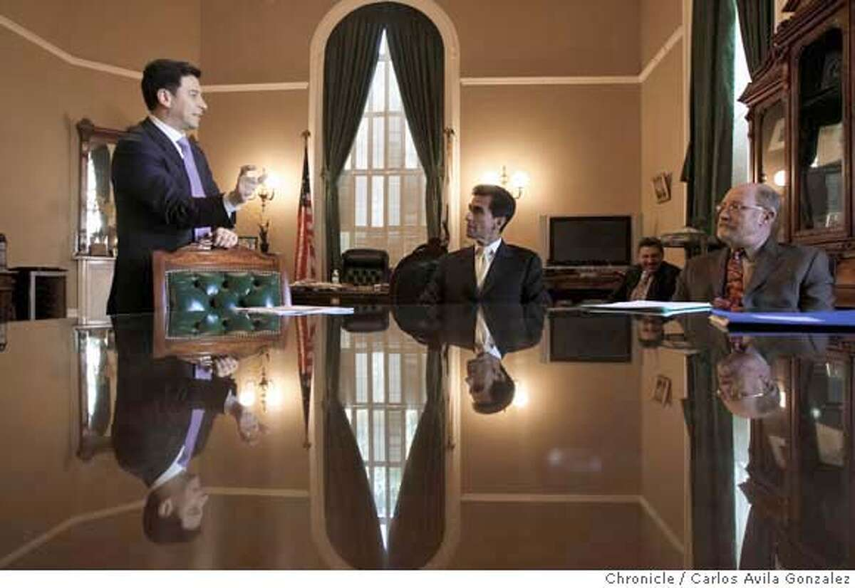 NUNEZ_014_CAG.JPG California State Assembly Speaker, Favian Nu�ez, left, speaks with Mark Leno, center, and John Laird, after leaving a meeting with Governor Arnold Schwarzenegger over proposed budget concerns in Sacrament, Ca., on Wednesday, January 16, 2008. This is a profile on Assembly Speaker Fabian Nunez, who in the past half dozen years have gone from a nobody to one of the most powerful politicians in California. His personal story is one of rags to riches: his roots lie near the US-Mexican border in San Diego where he grew up as one of a dozen children born to a gardener and a maid. But his rapid rise to political stardom is unprecedented, becoming the most powerful speaker of the Assembly in the term limits era and mentioned as one of the most powerful ever in the likes such as Willie Brown. We get to spend a day with Nunez conducts business at the State Capitol in Sacramento, Ca., on Wednesday, January 16, 2008. Photo taken on 1/16/08, in Sacramento, Ca Photo by Carlos Avila Gonzalez/The San Francisco Chronicle NORTHERN CALIF. MANDATORY CREDIT: PHOTOG AND SAN FRANCISCO CHRONICLE. MAGS OUT, NO SALES