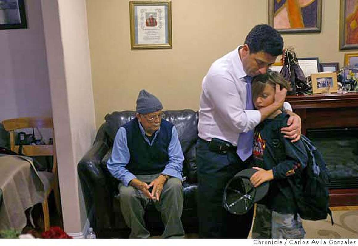 NUNEZ_572_CAG.JPG California State Assembly Speaker, Fabian Nu�ez, spends some time with his family on a recent trip to southern California on Monday, December 3, 2007. Here he hugs his nephew, Ivan Sandoval, with his father, Pablo Nu�ez seated behind them. This is a profile on Assembly Speaker Fabian Nunez, who in the past half dozen years has gone from a nobody to one of the most powerful politicians in California. His personal story is one of rags to riches: his roots lie near the US-Mexican border in San Diego where he grew up as one of a dozen children born to a gardener and a maid. But his rapid rise to political stardom is unprecedented, becoming the most powerful speaker of the Assembly in the term limits era and mentioned as one of the most powerful ever in the likes such as Willie Brown. We get to spend a day with Nunez while he visits his district in downtown Los Angeles and his family in San Diego. Photo taken on 12/3/07, in Los Angeles, Ca Photo by Carlos Avila Gonzalez/The San Francisco Chronicle NORTHERN CALIF. MANDATORY CREDIT: PHOTOG AND SAN FRANCISCO CHRONICLE. MAGS OUT, NO SALES