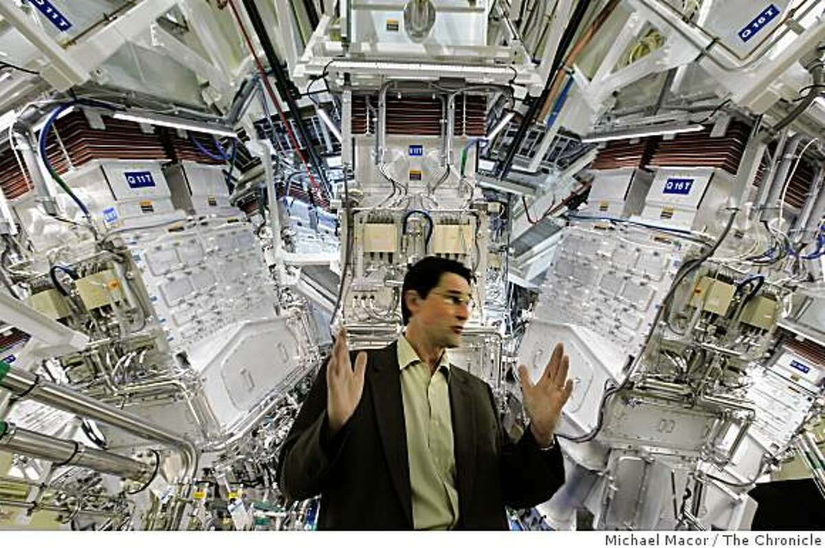 Bruno Vanwonterghem, operations manager, for the National Ignition Facility in front of the target chamber, where 192 laser beams are focused on a small target. Lawrence Livermore National Laboratory dedicates the National ignition Facility today in Livermore, Calif. on Friday May 29, 2009.