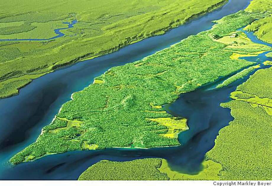 Mannahatta as seen from above Brooklyn, looking to the north. The island was once home to forests, ponds, streams and salt marshes. Photo: Copyright Markley Boyer, Courtesy Of The American ...