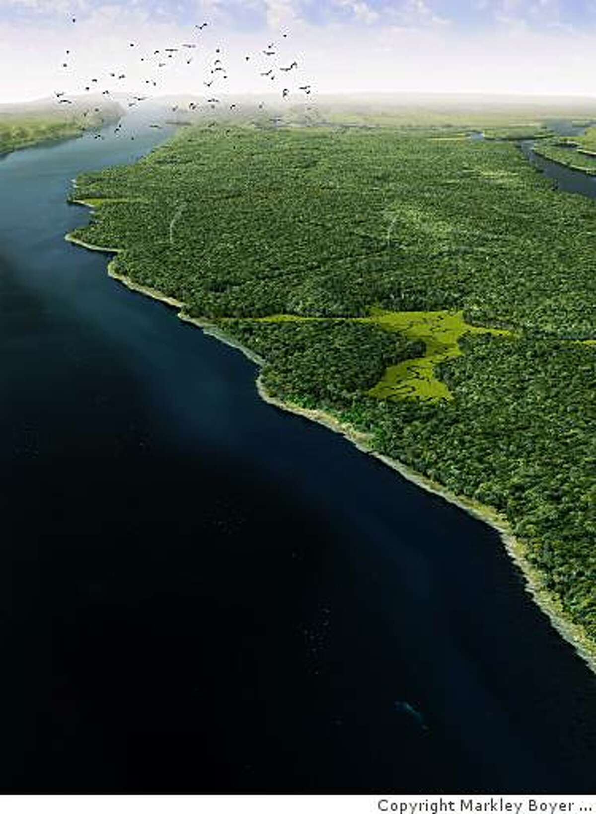 The Hudson River estuary shaped the sandy shore of Mannahatta. Smoke from fires indicates Lenape camps.