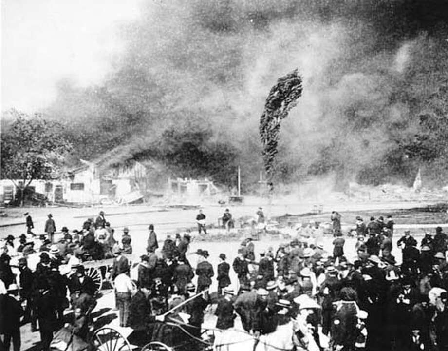 The burning of San Jose's china town in  1880 (from the history center San Jose). Author Jean Pfaelzer (301) 442 8801, has written a book about Chinese immigrants. Photo: Handout
