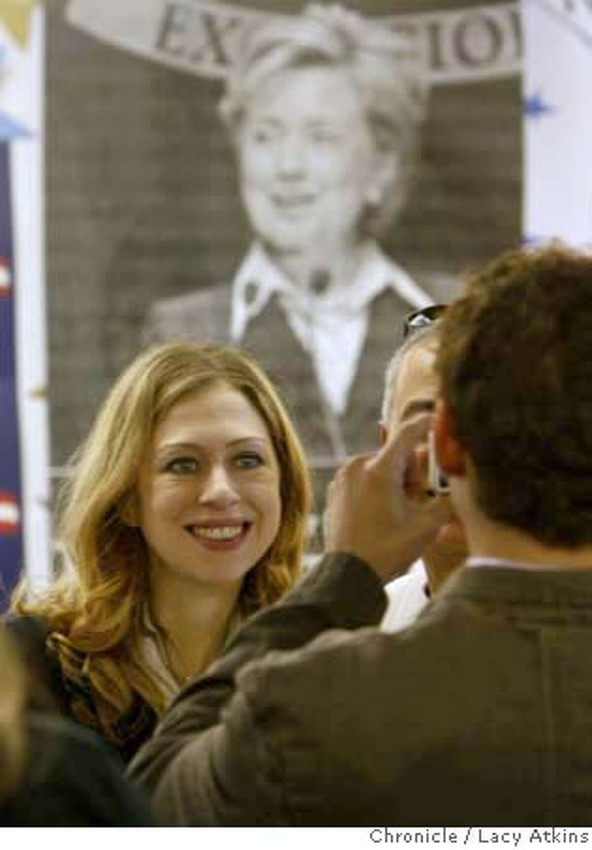 Chelsea Clinton gets her picture made at the Hillary Clinton campaign headquarters, Sunday January 13, 2008, in San Francisco, CA. (Lacy Atkins San Francisco Chronicle) MANDATORY CREDIT FOR PHOTOG AND SAN FRANCISCO CHRONICLE/NO SALES-MAGS OUT