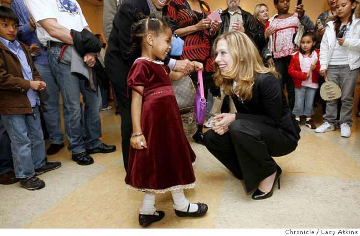 Elmira Williams gets a chance to meet Chelsea Clinton after the service at Glide Memorial which was one of her stops to campaign for her mother, Sunday January 13, 2008, in San Francisco, CA. (Lacy Atkins San Francisco Chronicle) MANDATORY CREDIT FOR PHOTOG AND SAN FRANCISCO CHRONICLE/NO SALES-MAGS OUT
