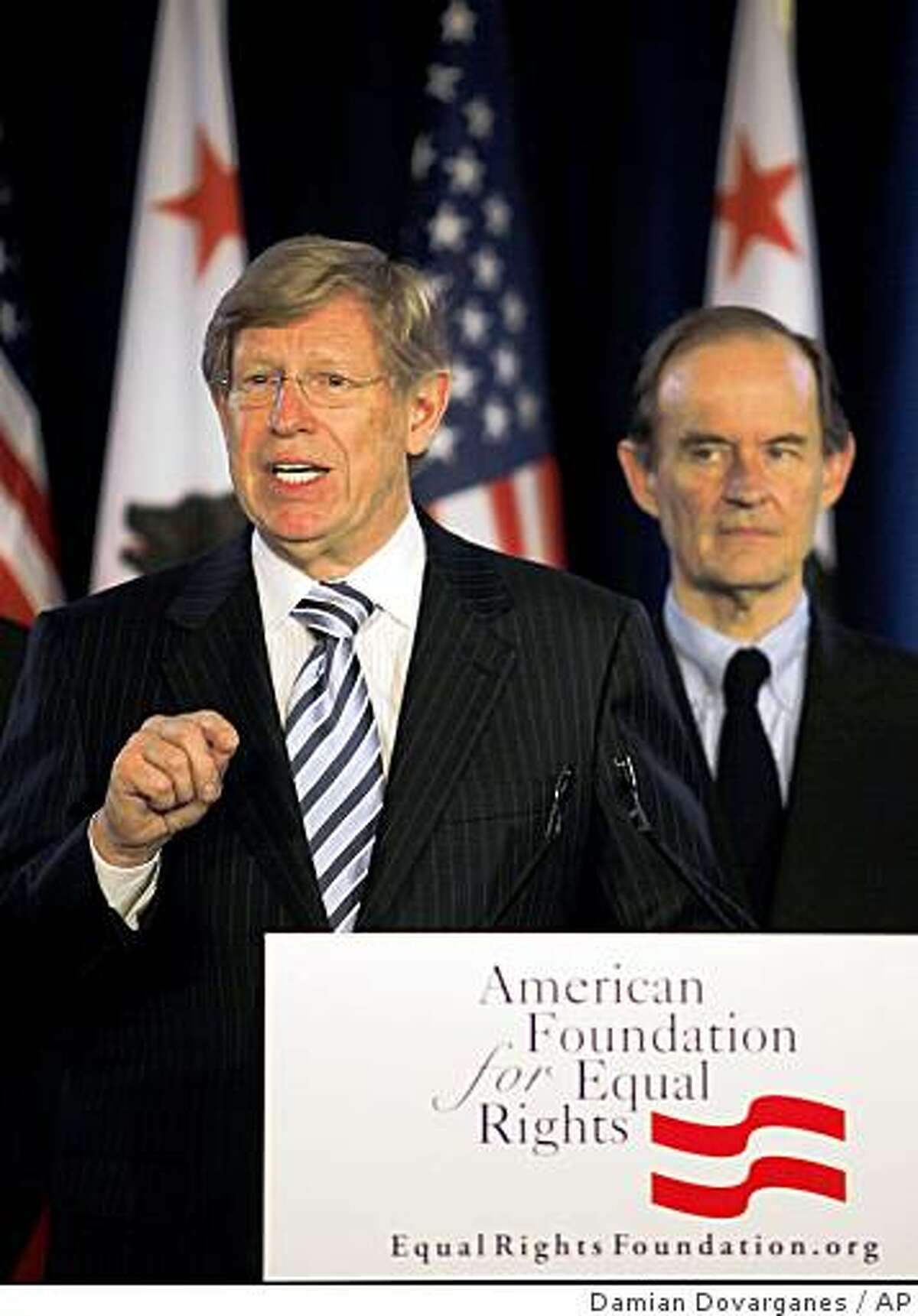 Attorneys Theodore B. Olson, left, and David Boies, announce a federal court challenge to Proposition 8 during a news conference in Los Angeles on Wednesday, May 27, 2009. The suit calls for an injunction against Proposition 8 until the case is resolved, which would immediately reinstate marriage rights for same sex couples. (AP Photo/Damian Dovarganes)