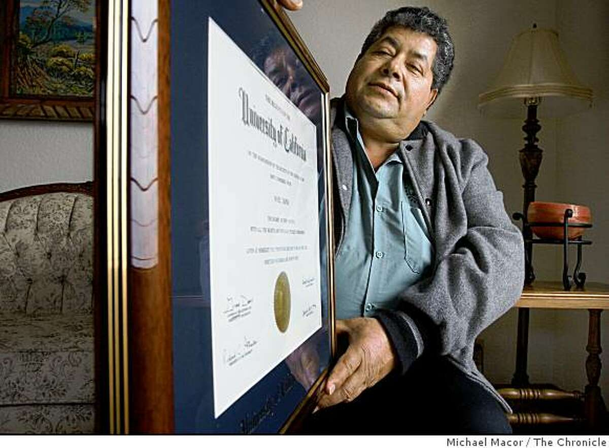 gardener09_060_mac.jpg Tapia, holds the diploma his son Noel received from UC Berkeley, where graduated with a law degree, back in 1999. Redwood City immigrant gardener , Catalino Tapia, has started a scholarship to raise funds for immigrant college students. Raising more than $100,000 since we wrote about him. He has now raised enough to put his foundation on solid footing but will be talking with experienced foundation officials to take the project to the next level. *Catalino Tapia Michael Macor / The Chronicle Taken on 1/8/08, in San Francisco, CA, USA